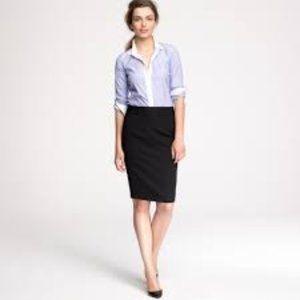 J. Crew The Pencil Skirt in Black Wool